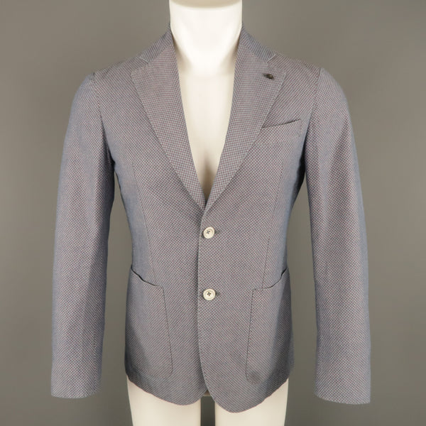 L.B.M. 1911 34 Short Blue & Burgundy Polka Dot Cotton Notch Lapel Sport Coat