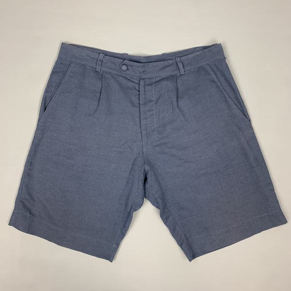 LA PERLA Size S Navy Sheer Linen / Cotton Pleated Zip Fly Shorts
