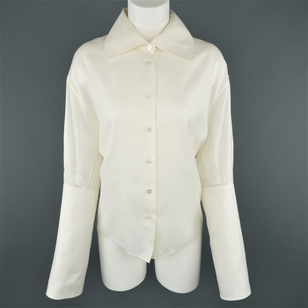LAGERFELD Size 10 Off White Cotton Wide Collar Extended Cuff Puff Blouse
