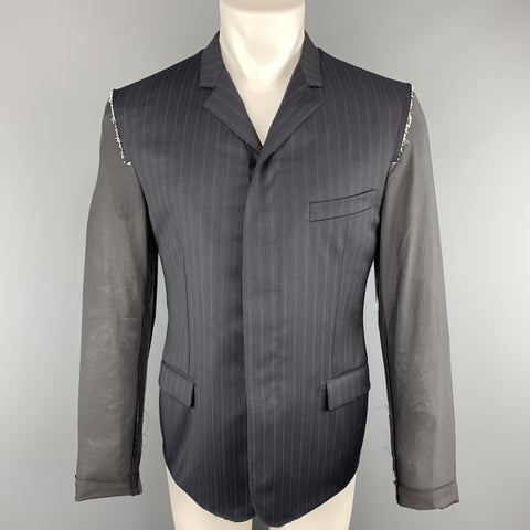 LANVIN 40 Navy Striped Wool Notch Lapel Sheer Back & Sleeves Jacket