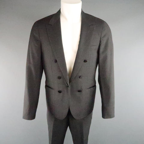 LANVIN 40 Short Charcoal Wool Black Satin Trim Peak Lapel Suit