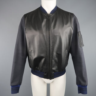LANVIN 42 Black & Charcoal Leather & Canvas Blue Cuff Bomber Jacket - Sui Generis Designer Consignment