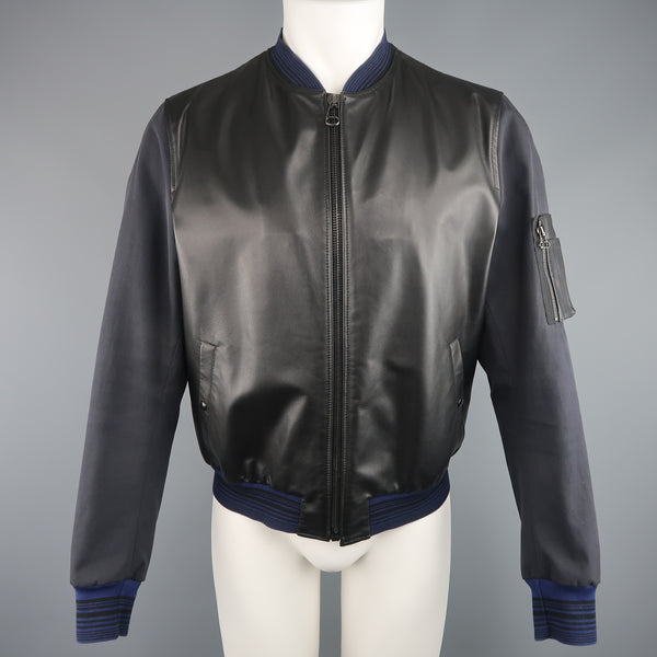LANVIN 42 Black & Charcoal Leather & Canvas Blue Cuff Bomber Jacket