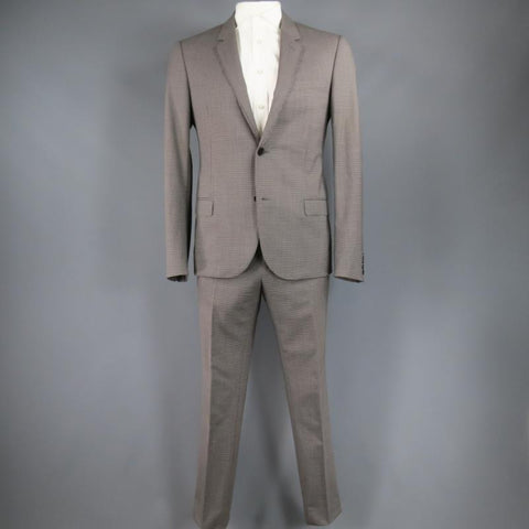 LANVIN 42 Regular Plaid Grey Wool Blend Suit