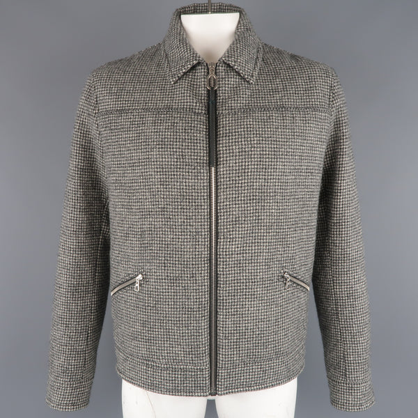 LANVIN 44 Beige & Black Houndstooth Wool Zip Blouson Jacket