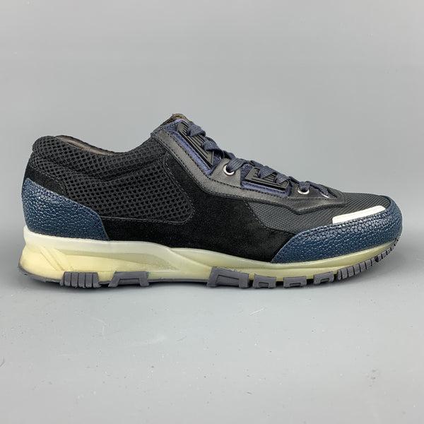LANVIN Size 10 Black & Blue Color Block Refective Lace Up Sneakers