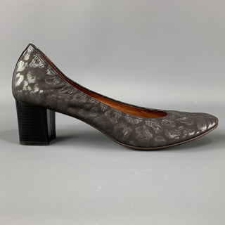LANVIN Size 12 Grey Animal Print Jacquard Stacked Rounded Pumps