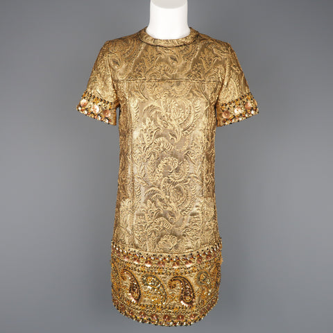 LANVIN Size 4 Metallic Gold Jacquard Paisley Beaded Cocktail Dress