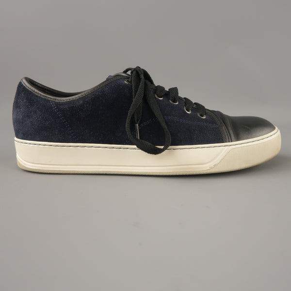 LANVIN Size 7 Navy & Black Two Toned Suede Lace Up Sneakers