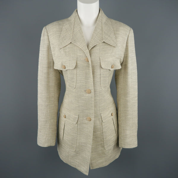 LANVIN Size 8 Beige Textured Military Pocket Jacket