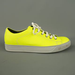 LANVIN Size 8 Neon Solid Leather Sneakers