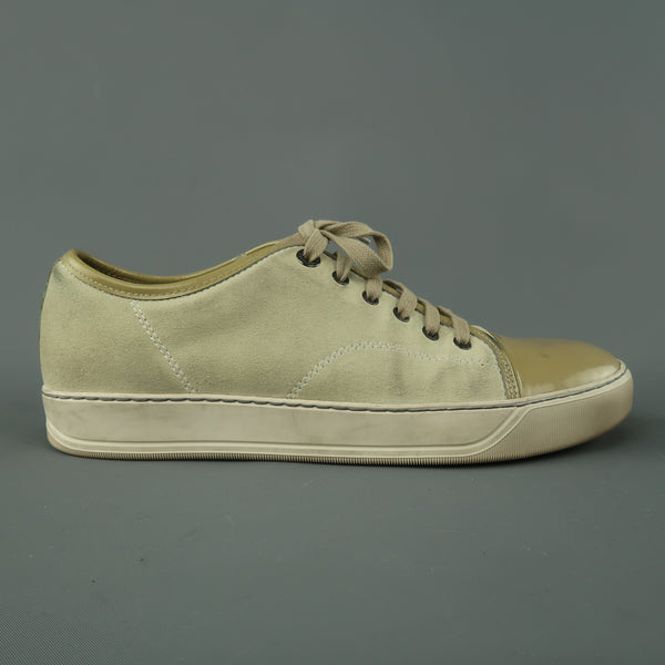 LANVIN Size 9 Beige Suede & Patent Leather Lace Up Sneakers