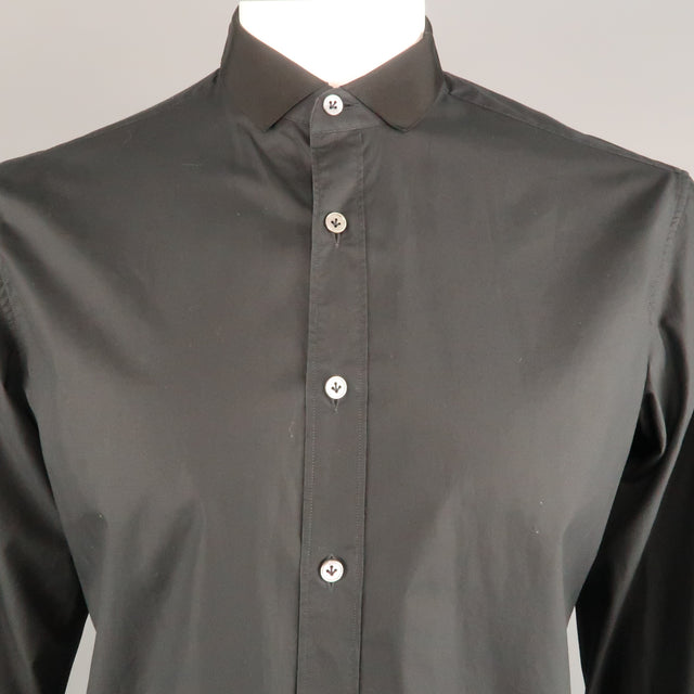f88a71b9303 LANVIN Size L Black Solid Cotton Button Up Long Sleeve Shirt – Sui Generis  Designer Consignment