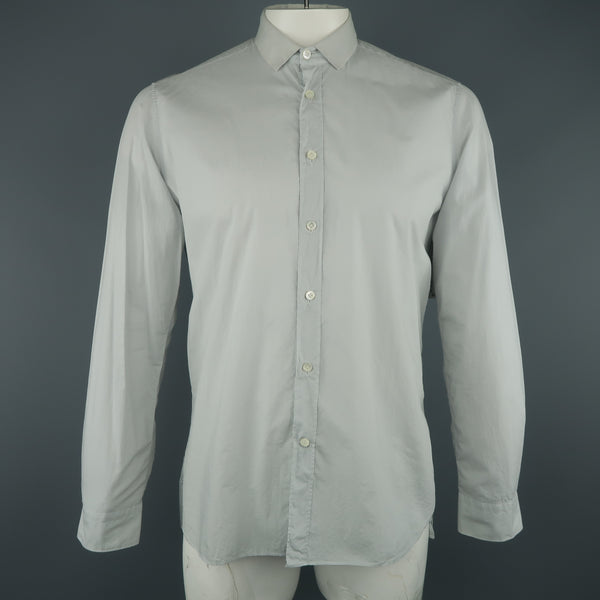 LANVIN Size L Light Gray Cotton Ribbon Collar Long Sleeve Shirt