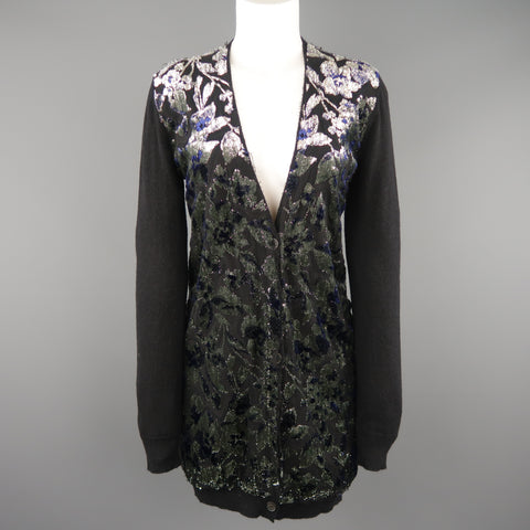 LANVIN Size M Black Metallic Burnout Jacquard Panel  Cardigan