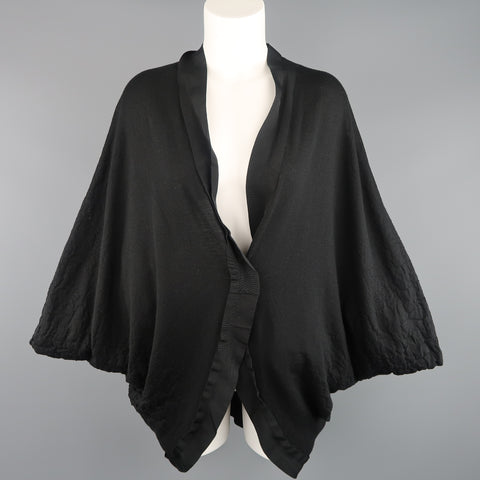LANVIN Size M Black Textured Jersey Knit Batwing Cardigan