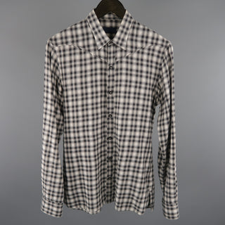 LANVIN Size S Grey Plaid Cotton Long Sleeve Shirt