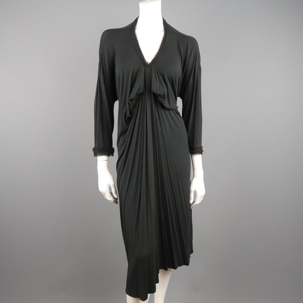 LANVIN Size XXL Charcoal Draped Jersey Silk Chiffon Trimmed Dress