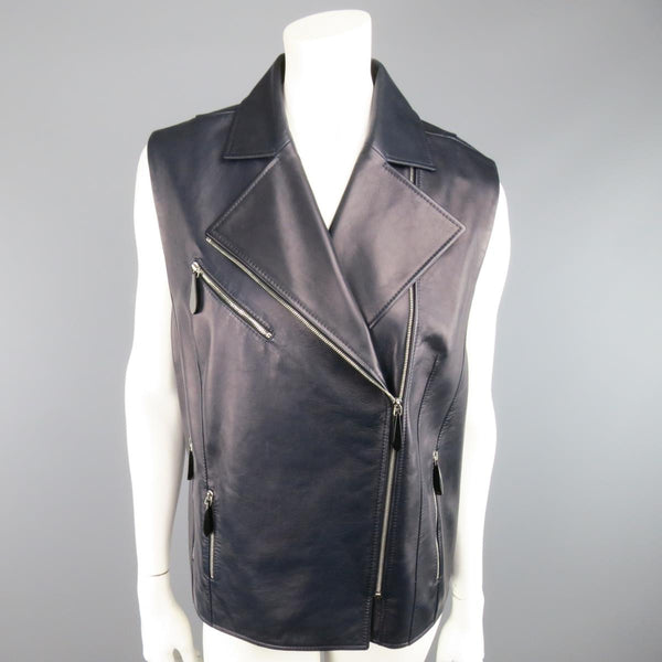 LENA LUMELSKY Size 4 Navy Leather Structured Back Motorcycle Vest