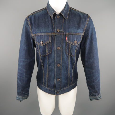 LEVI'S 40 Indigo Contrast Stitch Denim Trucker Jacket