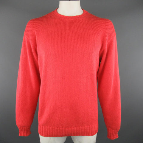 LORO PIANA Size L Coral Red Knitted Cotton Crewneck Pullover Sweater - Sui Generis Designer Consignment