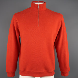 LORO PIANA Size L Orange Ribbed Jersey Half Zip Mock Neck Pullover