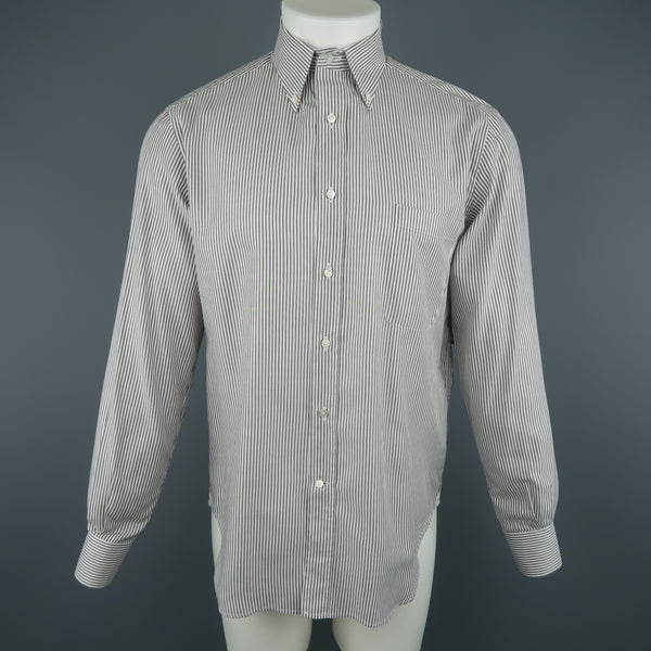 LORO PIANA Size M Grey & White Striped Cotton Long Sleeve Oxford Shirt