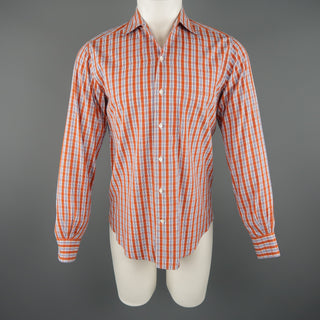 LORO PIANA Size S Orange Plaid Cotton Dress Shirt