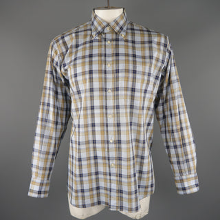 LUCIANO BARBERA Size L Light Blue Plaid Cotton Long Sleeve Shirt