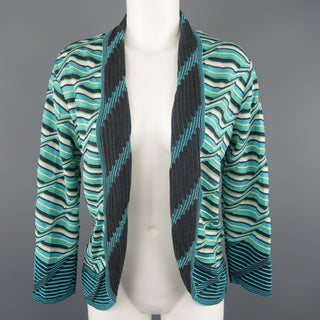 M MISSONI Size 10 Blue & Green Wool / Viscose Textured Print Knit Cardigan
