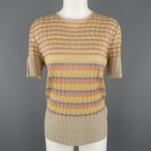 M MISSONI Size 14 Beige Rainbow Stripe Textured Metallic Knit Top