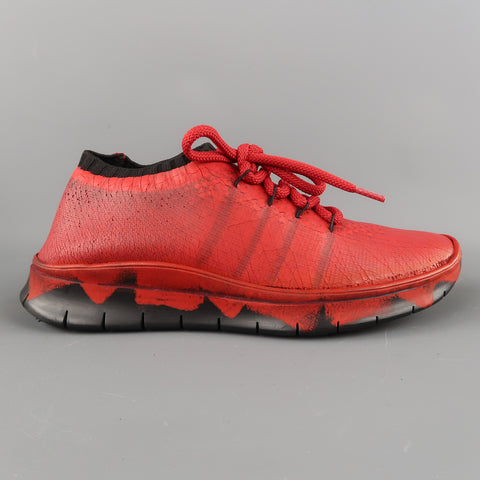 MAISON MARGIELA Size 6 Red Painted Knit Lace Up Sneakers