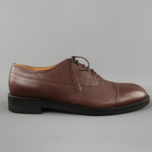 MAISON MARTIN MARGIELA Size 12 Brown Solid Leather Cap Toe Lace Up
