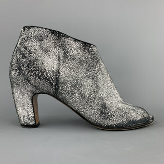 MAISON MARTIN MARGIELA Size 7 Black & White Painted Crackle Suede Peep Toe Boots