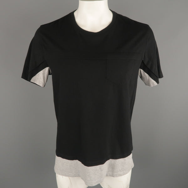 MAISON MARTIN MARGIELA Size L Black & Grey Cotton Crew-Neck T-shirt