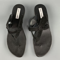 cee8a181e5bb8 Home; MANOLO BLAHNIK Size 11 Black Suede Straps Thong Flat Sandals. -60 %.  Click to Zoom