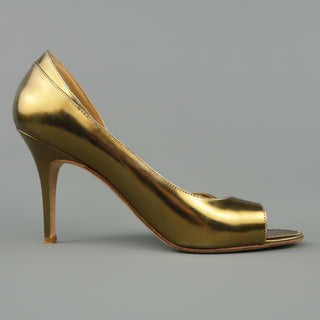 MANOLO BLAHNIK Size 11 Gold Metallic Patent Leather Peep Toe D'Orsay Pumps