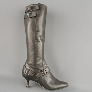 MANOLO BLAHNIK Size 6.5 Slate Gray Leather Pointed Knee High Boots