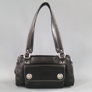 Vintage MARC JACOBS Black Leather Contrast Stitch Triple Zip Shoulder Bag