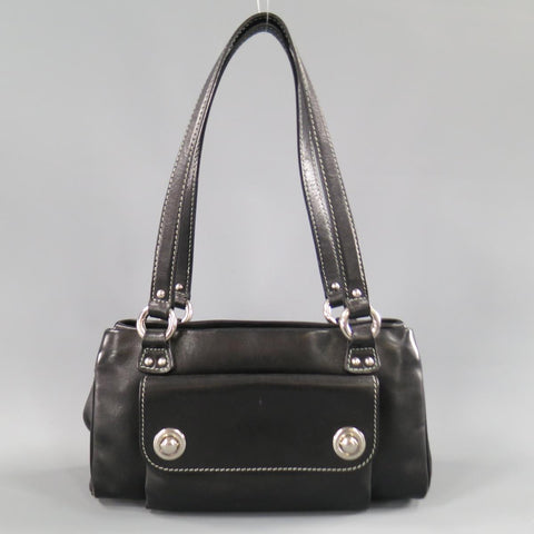 MARC JACOBS Black Leather Contrast Stitch Triple Zip Shoulder Bag