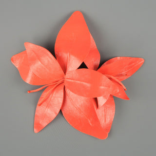 MARC JACOBS Coral Pink Leather Lilies Pin