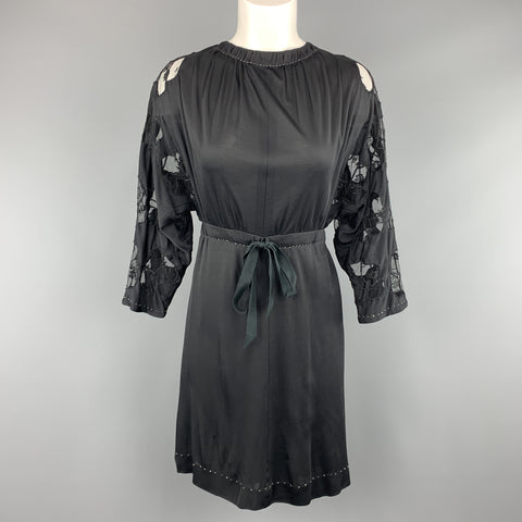 MARC JACOBS Size 2 Black Lace Sleeve Drawstring Dress