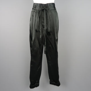 MARC JACOBS Size 4 Black Linen Blend Satin Pleated Cuffed Pants - Sui Generis Designer Consignment