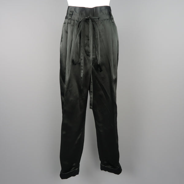 MARC JACOBS Size 4 Black Linen Blend Satin Pleated Cuffed Pants