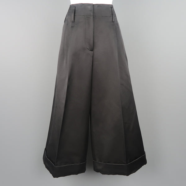 MARC JACOBS Size 6 Black Silk Wide Leg Pleated Culottes Pants