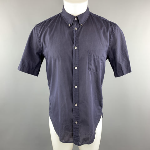 83429d317ecb MARC JACOBS Size S Navy Stripe Cotton Button Down Short Sleeve Shirt