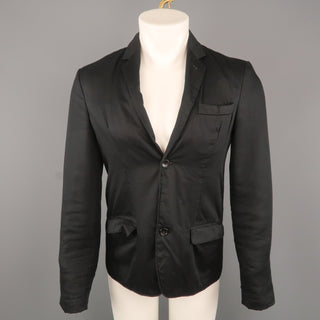 MARC by MARC JACOBS S Black Solid Cotton Notch Lapel  Jacket