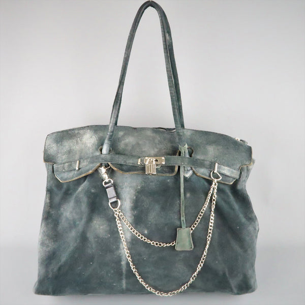 MARCO TAGLIAFERRI Teal Over Distressed Leather Oversized 'Birk' Satchel