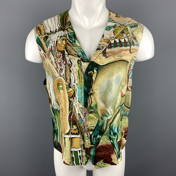 MARGUERITE 42 Olive Print Silk Buttoned Vest / Waistcoat