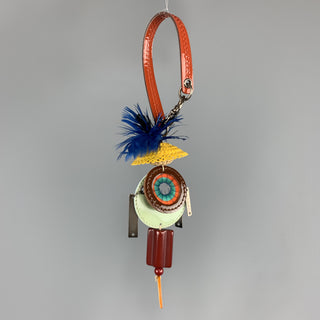 MARNI Multi-Color Mixed Metal Patent Leather Feathers Charm Key Ring